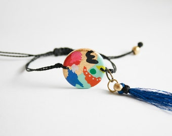 Arty multicolor abstract Bracelet - hand painted adjustable- tassel detail, gold and black bracelet
