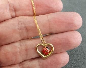 Gold Ladybug Heart Pendant Necklace Enamel Italy