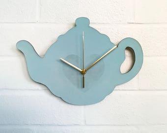 Teapot Clock   Mint Green Clock   Tea Lover Gift   Handmade Wooden Clock   Hand Painted Kitchen Clock   Gifts For Her