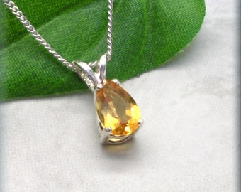 Teardrop Yellow Citrine Necklace, Pear Cut Faceted Stone, 925 Sterling Silver, November Birthstone, November Birthday Gift for Her, Gemstone