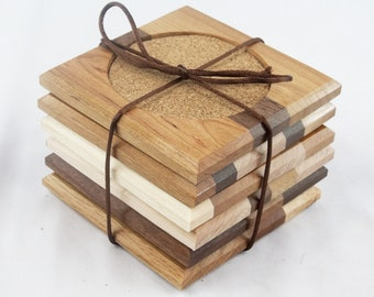 Wooden coasters - Set of 6 - reclaimed wood