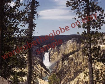 1940 Grand Canyon Photo. Lower Falls. Artist Point. Yellowstone Park. DIGITAL DOWNLOAD 2Print. American Travel Photography. Cabin Wall Decor