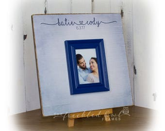 Navy Wedding Guest Book Alternative, Wedding Signature Frame, Personalized Guestbook Wedding Picture Frame, Sign 16 x 16 inch