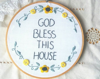 Inspirational hoop, embroidery hoop, God bless, prayer, blessing, handmade, Mother's day gift,  home decor, handembroidered hoop, art, 8""