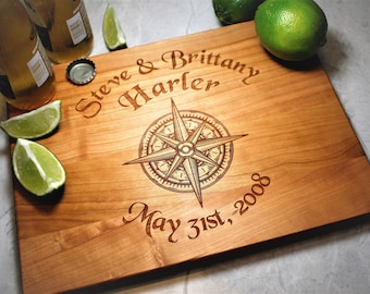 Engraved Cutting Board - Personalized Gift - Nautical Decor - Custom Kitchen - Gifts for Fiance - Anniversary - Coastal Decor - Gift for Him