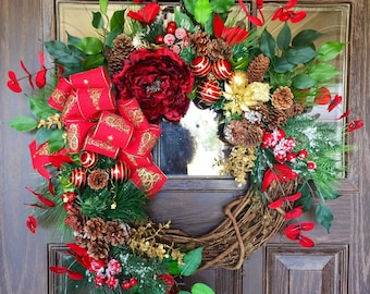 Etsy Front Door Holiday Wreath   Etsy Christmas Wreath   Grapevine Wreath   Christmas Decorations   Door Wreaths   Wreaths on Etsy