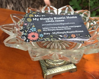 Vintage Business Card Holder,Vintage Cut Glass,Bathroom Soap Dish,Business Card Holder,Shabby Cottage,French Country, Trinket Holder
