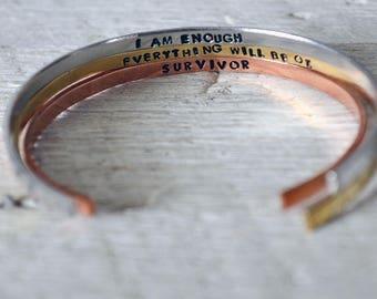 Hidden Message Bracelet - Secret Message Bracelet - Personalized Stacking Bracelet - Hand Stamped Cuff Bracelet - Custom Mantra Bracelet