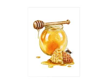 Honey Jar - 1 watercolor print.