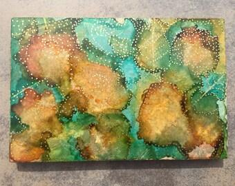 Autumn Leaves Artwork - Painted on Marble stone