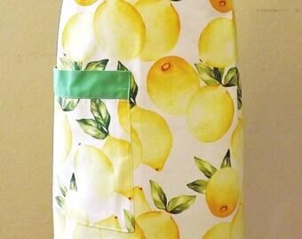 Child Apron Kid Apron Lemon Apron Green Apron Strings Gift for Girl Apron with Pocket Pretend Play Cotton Linens Kitchen Cooking Preshcool