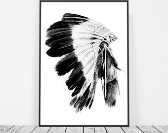Tribal Print, Native American Art, Indian Headdress Print, Boho, Tribal Art, Headdress Art, Tribal Decor, Tribal Wall Art, Boho Wall Art
