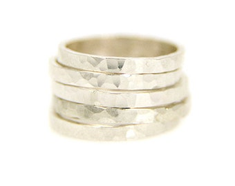 Silver Thick Hammered Stacking Ring