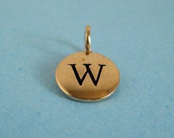 Bronze Alphabet Letter W  Initial Charm