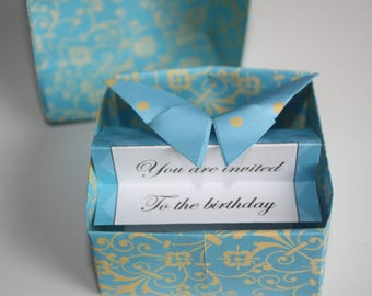 5 Origami box with butterfly and event invite