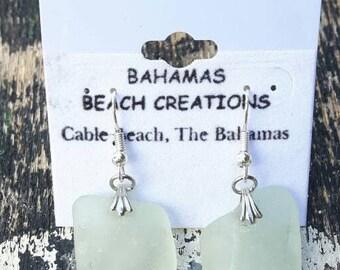 Seafoam Sea Glass Chunk Drop Earrings, sea glass earrings, seafoam sea glass, seafoam sea glass earrings, sea glass jewelry, beachy jewelry
