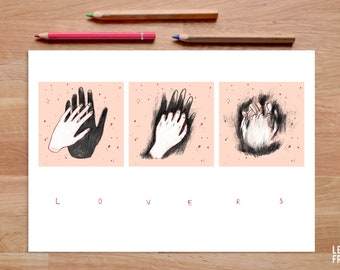 Lovers Print, Lovers Gifts, Love Print, Couple Poster, Gift for Couple, Minimalist Print, Hands Print, Holding Hands Art, Gift for Husband