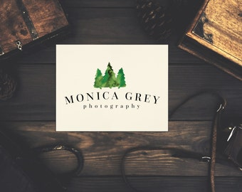 Instant Download Logo featuring Watercolor Green Fir Trees
