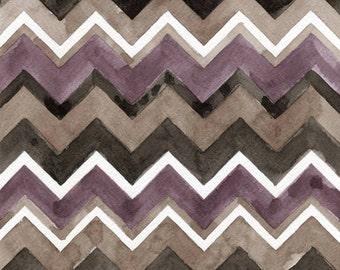 Watercolor Painting: Watercolor Chevrons - Zig Zags - Art Print --  Sable  -- Purple Grey Black -- 8x10