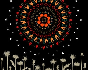 Waking Moon - 8 X 10 inch Cut Paper Art Print