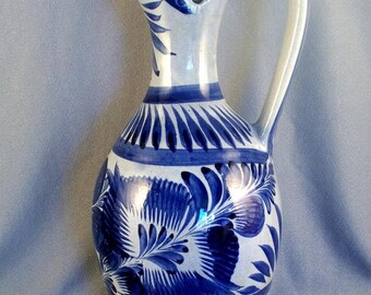 Gorgeous Cobalt Blue Design Pitcher // Made in Mexico // Signed // Eye Catching // Center Piece // Entry Way // Living Area // Artisan Piece