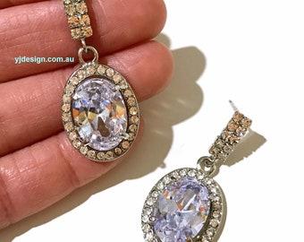 Oval Bridal Earrings, Cz Wedding Earrings, Dangle Earrings, Drop Bridal Jewelry, Crystal Wedding Jewelry, Serling Silver Posts, OVALIA