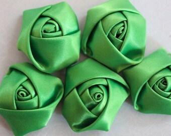 Green Rosebud flower fabric scrapbooking