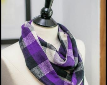 Infinity Scarf - Flannel - Purple - Medium Square