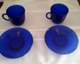Set of 2 Cobalt Blue Glass Cups and Saucers