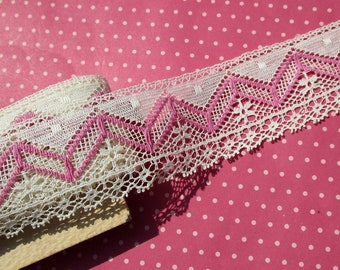Vintage Lace Trim Off White with Bright Pink