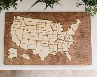 United States Wooden Map Puzzle