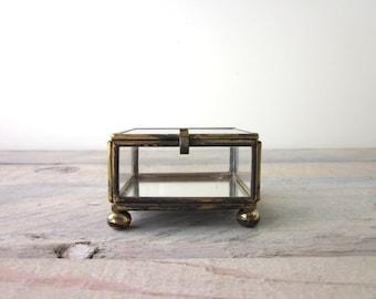Vintage Glass Metal Terrarium Box with Etched Swan Design