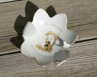 Vintage Porcelain Holly Hobbie Dish Ashtray Trinkets Jewelry Holder