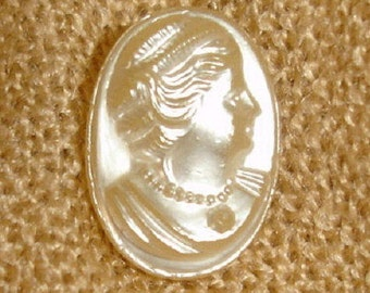Old Pearlized Glass Button with Lady head - Woman head pearlized Glass Button