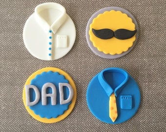 12 Happy Father's Day Fondant Cupcake Toppers