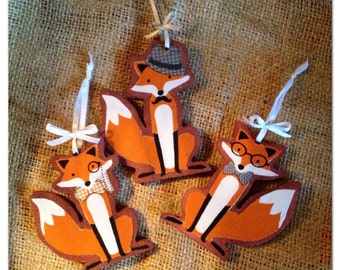 Fox Decoration. Personalisations Available 'Foxy Gent!' Quirky Hanging Fox Decoration. Hung with Ribbon and Bow.