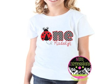 Personalized Ladybug First Birthday shirt Red and Black