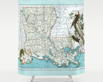 Louisiana Map Shower Curtain - Brown Pelican, Magnolia, state shower curtain,  aqua New Orleans, state pride