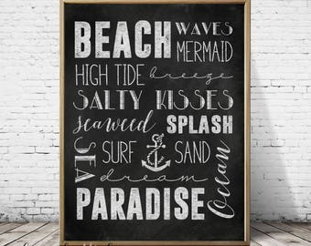 Printable chalkboard art, printable wall art,11x14,8x10,5x7,beach print, typography, subway art print, home decor print