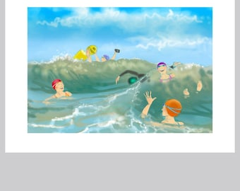 Sea swimmer's greetings card: 'A Bouncy Day at Poole' - art card, open water swimming