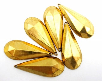Brass Faceted Teardrop Charms (6X) (M635)