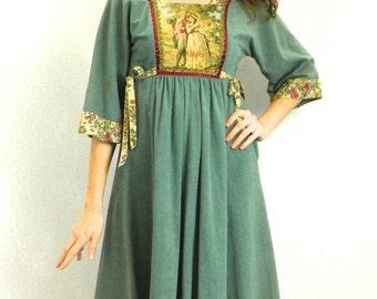 70s Green Hippie Dress   Green Peasant Dress   Boho Dress   Young Edwardian   Extra Small