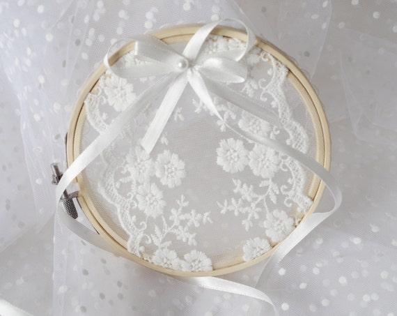 Wedding Ring Hoop Ring Bearer Rustic Wedding Ring Pillow