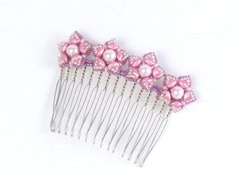 Pink bridal hair comb, cherry blossom, cute, floral hair accessories, for wedding, gift ideas for her, 396-1