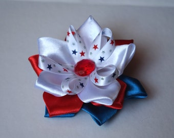 Patriotic Red White Blue Hair Bow