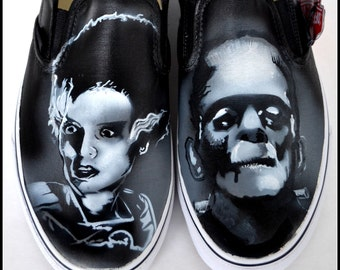 Gifts for Boyfriends, Personalized Shoes, Hand Painted Vans, Frankenstein, Bride of Frankenstein, Gifts for Men