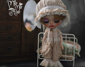Shabby Chic Pajamas with Bonnet for Blythe/Pullips Dress/ Licca/ Azone A76 A77
