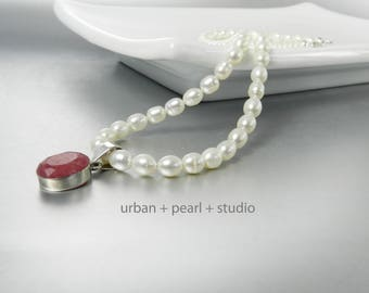 Freshwater Pearl Necklace With Ruby Pendant Red Ruby Necklace