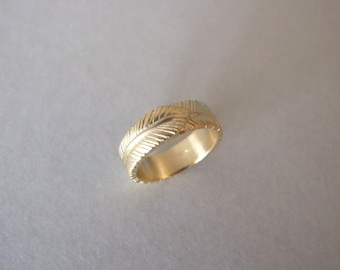 Solid Gold Wedding Ring - gold wedding band , wedding ring , feather ring , gold ring , men's ring , women's ring , gift