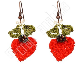 Oya Needle Lace Earrings - Strawberries